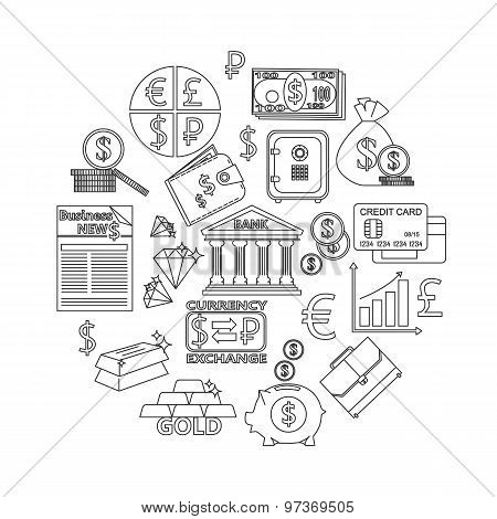 Finance and investing outline icons set.