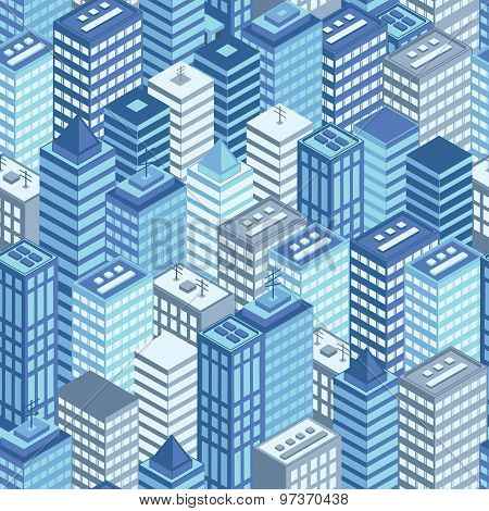 Blue flat isometric city seamless pattern.