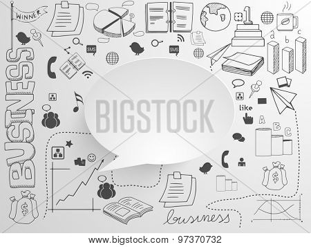 A big set of various business infographic elements with blank speech bubble on grey background.