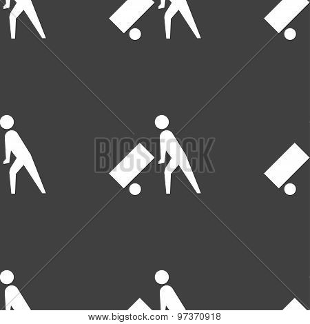 Loader Icon Sign. Seamless Pattern On A Gray Background. Vector