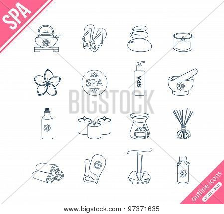 Spa and healthcare outline icons set.