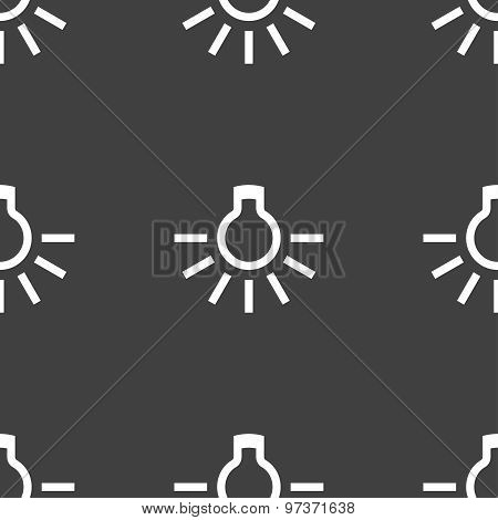 Light Bulb Icon Sign. Seamless Pattern On A Gray Background. Vector