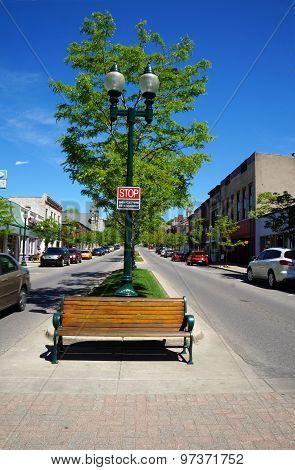 Bench in a Crosswalk