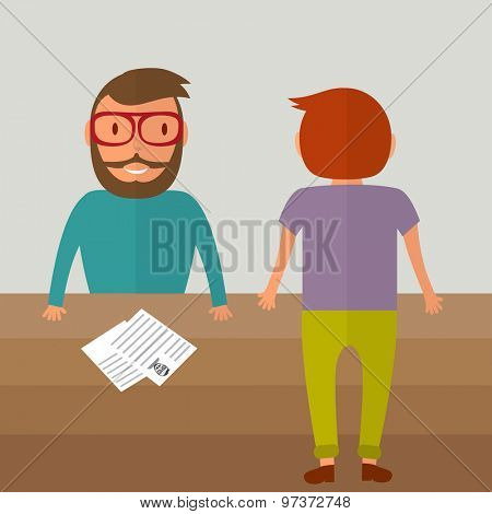 Interview for a job. Two young men from different sides of the table. Resume paper blank on the table. Vector illustration in flat style
