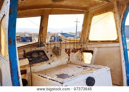 Almeria Cabo de Gata old boat indoor in San Miguel at Spain