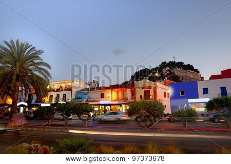 Denia old village sunset dusk in Mediterranean Alicante Spain Europe