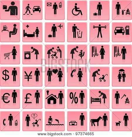 Website And Internet Icons -- People  Vector Illustration