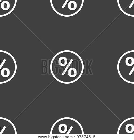 Percentage Discount Icon Sign. Seamless Pattern On A Gray Background. Vector