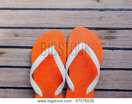 Flip Flops On Sailing Yacht Floor For Summer Background .