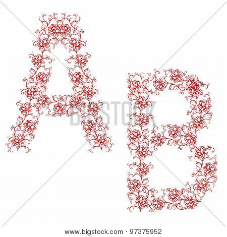 Hand Drawing Ornamental Alphabet. Letter Ab