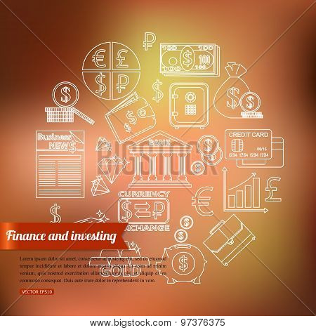 Finance and investing outline icons set over blurred background with place for text.