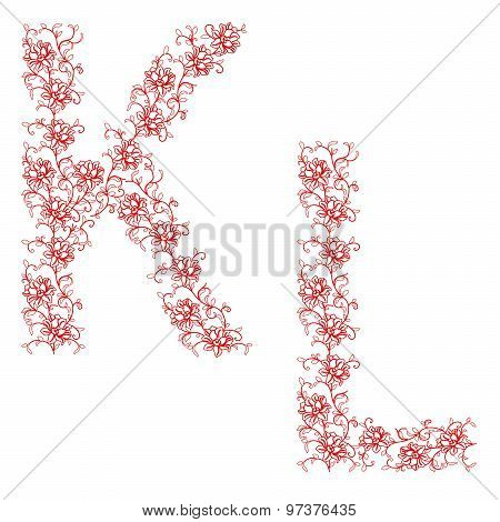 Hand Drawing Ornamental Alphabet. Letter Kl