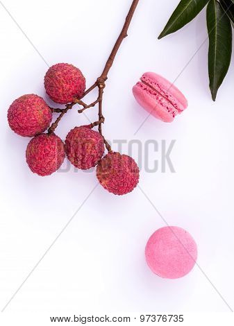Brunch Of Ripe Lychee And Lychee Macaroons With Leaf Isolate On White Background.