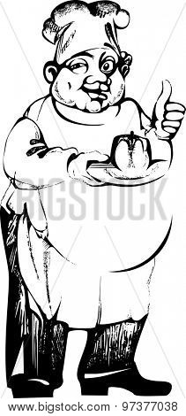 black and white drawing of chef