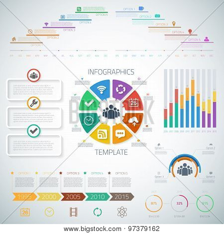 Huge Timeline Infographics Set with diograms, pie charts, icons