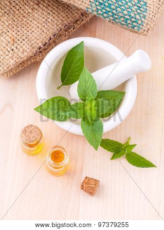 Alternative Medicine Lemon Basil Oil Natural Spas Ingredients For Aroma Aromatherapy With Mortar On