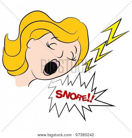 An image of a loud snoring woman.