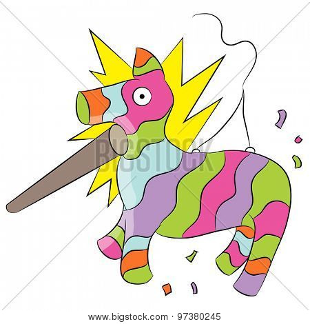 An image of a cartoon animal pinata being hit with a stick.
