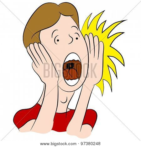 An image of a cartoon of a yelling man.