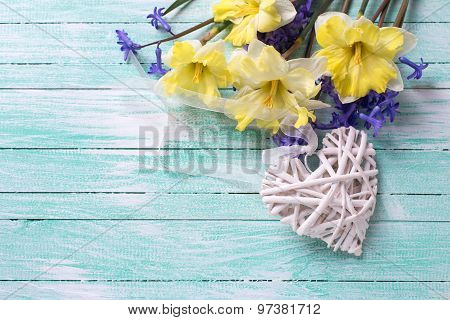 Yellow And Blue Spring Flowers And Decorative Heart