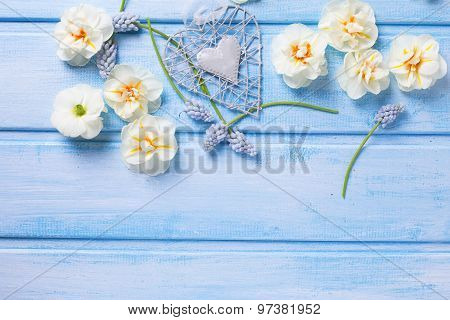 Background With Decorative Heart And Flowers