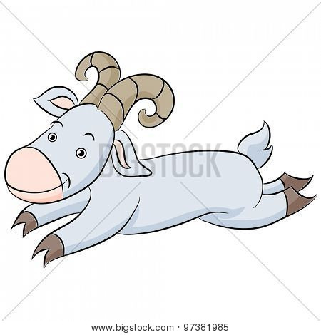An image of a cartoon of a leaping billy goat.