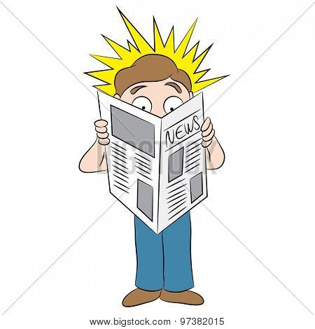 An image of a cartoon man reading a shocking headline in a newspaper.