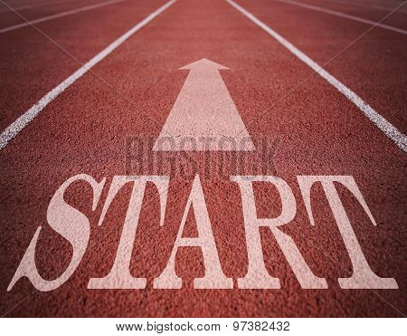 Concept of start with an arrow on a track for business