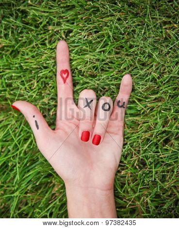 a young girl's hand with lettering i heart x o u written on it in the grass during summer making the rock on sign