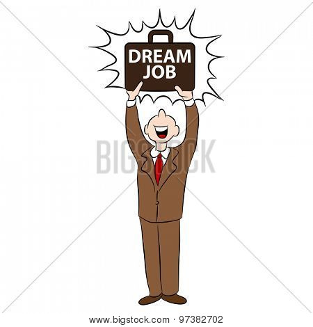 An image of a cartoon man happy with getting his dream job.