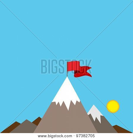 An image of a red flag on top of a snow covered mountain peak.