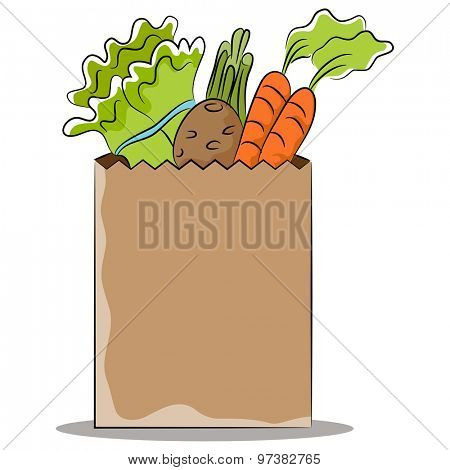 An image of a grocery bag of healthy vegetables.