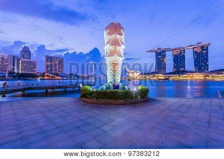 Landmark Of Singapore At Night