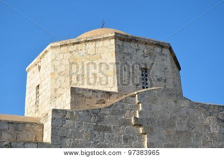 Cypriot Orthodox Church Steeple Stone In The Blue Sky Of Cyprus.