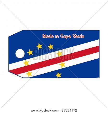 Vector Illustration Of Cape Verde Flag On Price Tag With Word Made In Cape Verde Isolated On White B