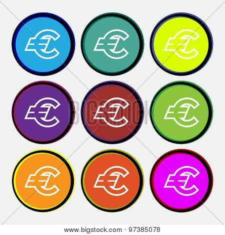 Euro Eur Icon Sign. Nine Multi Colored Round Buttons. Vector