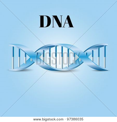 DNA symbol. Vector on the blue background