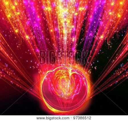 Shining big fantastic radial blast red tint with magic ball. Fractal art graphics