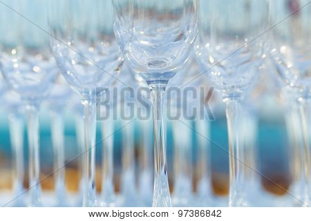 Empty Wine Glasses Setting For Wedding Party.