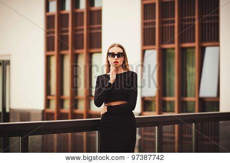 Beautiful Sexy Young Business Woman Long Hair