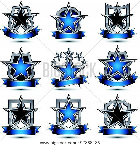 Set of silvery heraldic 3d glossy icons with curvy ribbons, best for use in web and graphic design,