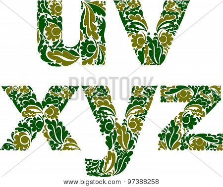 Ornamental typescript, letters decorated with herbal pattern isolated on white.