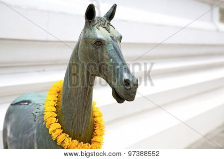 Horse  In The Temple Bangkok Asia  Bronze   Wat  Palaces