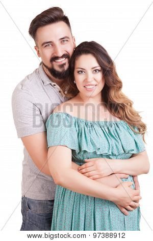 Young Happy Couple Pregnant Woman Smiling Over White
