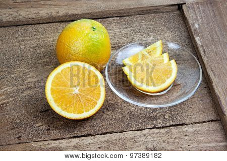 Orange Sliced In Half And Thinly Sliced