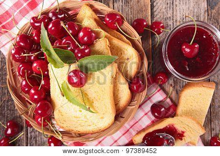 cherry jam and bread