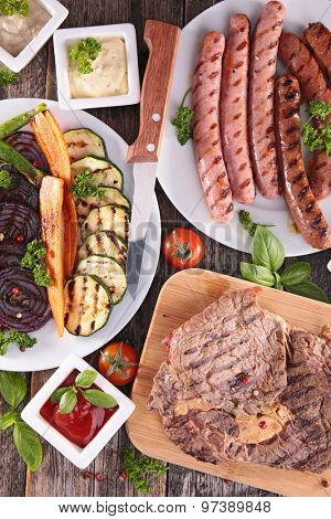meat and vegetable barbecue