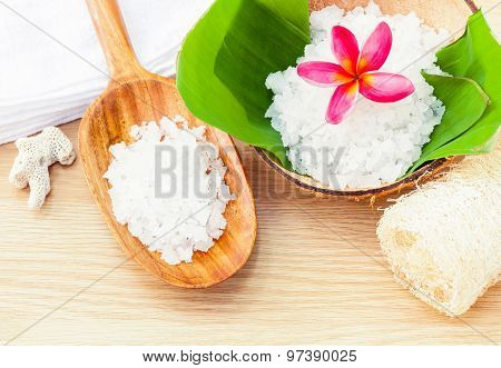 Natural Spa Ingredients . - Sea Salt  Ingredients For Scrub And Skin Care.