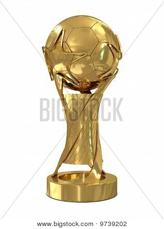 Golden soccer trophy with stars
