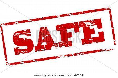 Rubber stamp with word safe inside vector illustration